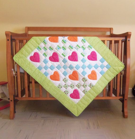 Crib Quilt Blanket Baby Girl Hand Quilted by FarmGirlDesign, $100.00