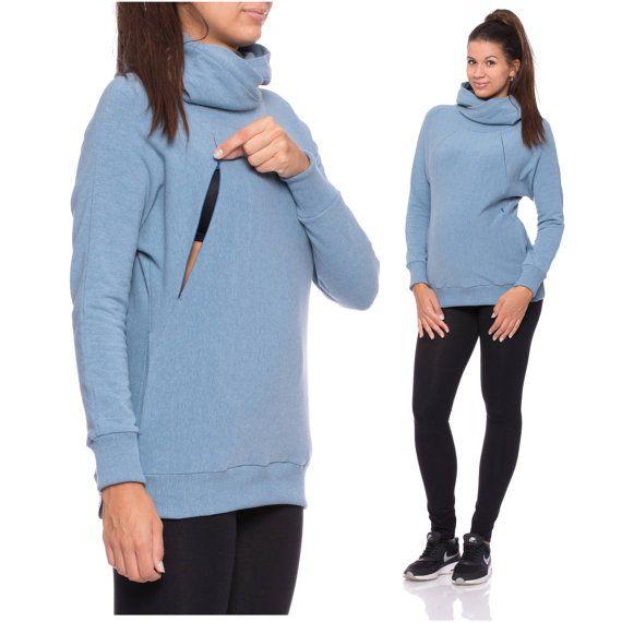 Suéter con estilo azul luz para invierno, puente de cuello con capucha, embarazo y maternidad ropa invierno suéteres, sudadera cálida, azul claro, FEROX