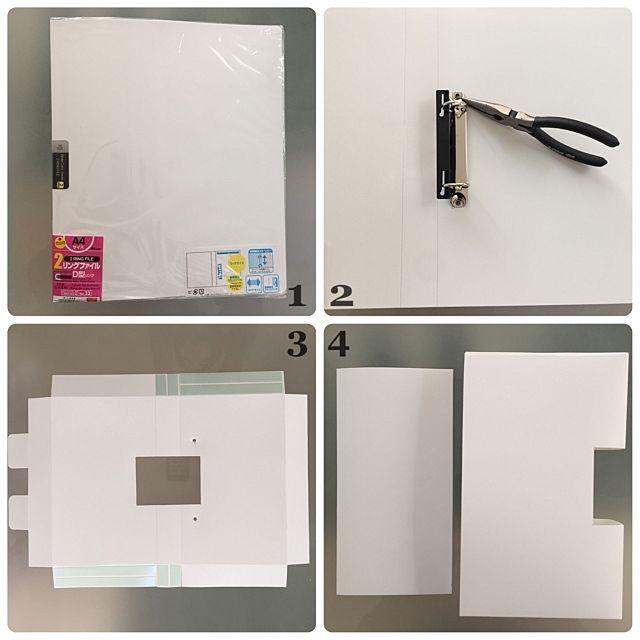 女性で、4LDKのハンドメイド/白黒インテリア/ホワイトインテリア/モノトーンインテリア/モノトーン…などについてのインテリア実例を紹介。「ゴミ袋ストッカーの作り方です♥ ダイソーのA4リングファイル背表紙3.5cm」(この写真は 2016-12-04 22:04:16 に共有されました)