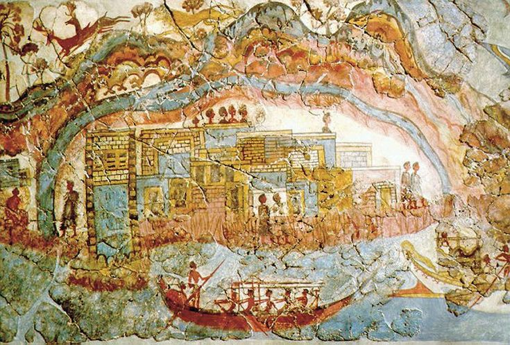 Fragment d'une fresque de l'âge du bronze provenant d'Akrotiri. © DP