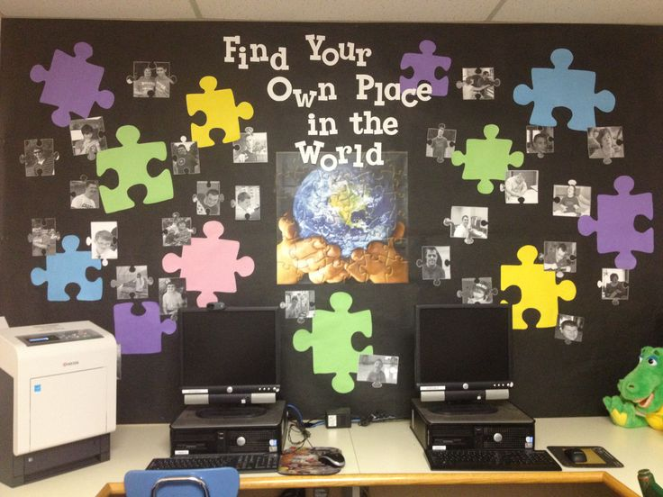 "The school-wide theme for 2014-2015 is ""Find Your Own Place in the World"".  I used puzzle templates to reflect the analogy of the students like puzzle pieces fitting in to complete the picture/puzzle.  This helped them understand that like the puzzle piece they will find their own place."