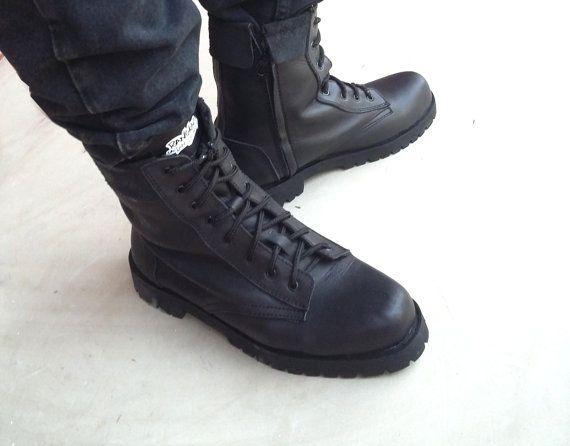 Stivali in pelle nera Preorder unisex Rangkayo scarpe fatte a mano