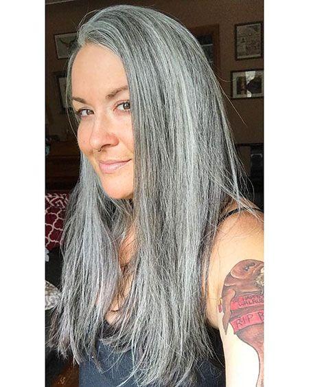 28 lange graue Frisuren