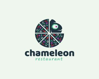 stylized logo in the shape of a chameleon together with a pizza made of peppers, vegetables, tomato and onion with the colors green, red, purple, and dark blue.( logo for sale, logo design, exclusive logo, chameleon, restaurant, food, lizard, animal, fast food, pizza, pizzeria, chilli, pepper).