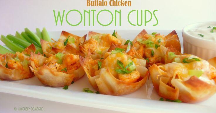 Joyously Domestic: Buffalo Chicken Wonton Cups