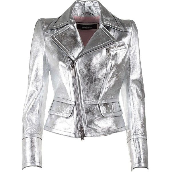 Metallic Leather Jacket (1 085 AUD) ❤ liked on Polyvore featuring outerwear, jackets, silver, shoulder pad jacket, fleece-lined jackets, dsquared2, real leather jackets and genuine leather jackets