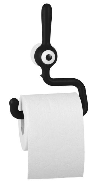 Uchwyt na papier toaletowy TOQ - kolor czarny, KOZIOL.   Wygodne przechowywanie papieru, designerska ozdoba łazienkowa, ułatwia wygodną aplikację z rolki, humorystyczny design. ;)