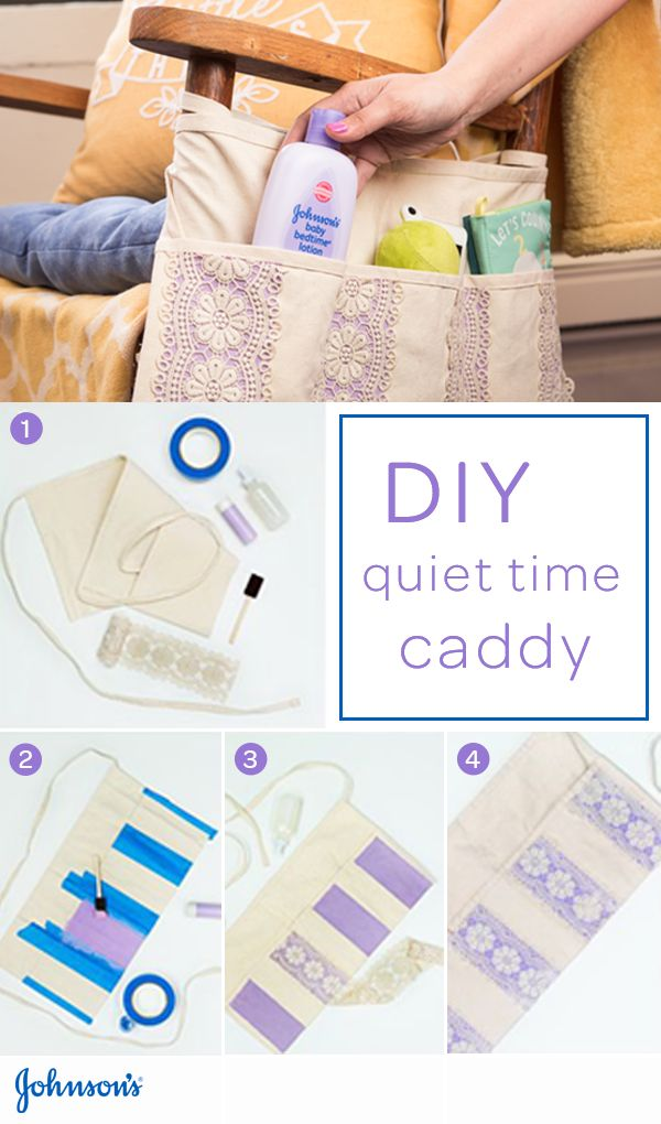 Your baby's nursery should be a calm, comfortable place where you and your baby can share peaceful moments together. A quiet time caddy is an easy nursery DIY for moms-to-be. Attach it to your rocker and keep JOHNSON'S® BEDTIME® baby lotion within arm's reach.
