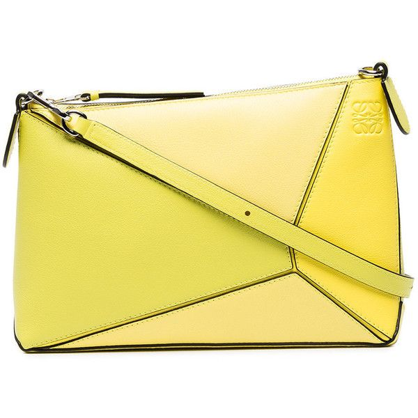 Loewe Mini Puzzle Cross Body Bag (12355 MAD) ❤ liked on Polyvore featuring bags, handbags, shoulder bags, yellow, leather purses, leather shoulder bag, yellow leather handbags, mini crossbody purse and mini crossbody