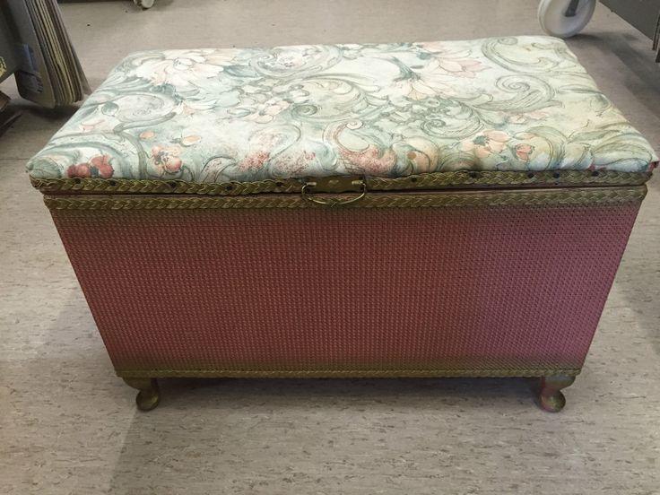 A Vintage Lloyd Loom Original Pink Ottoman Storage