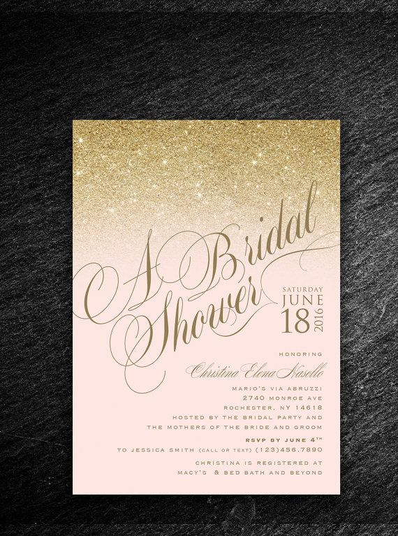 Gold/Silver blush pink bridal shower invitation by NVusDesigns