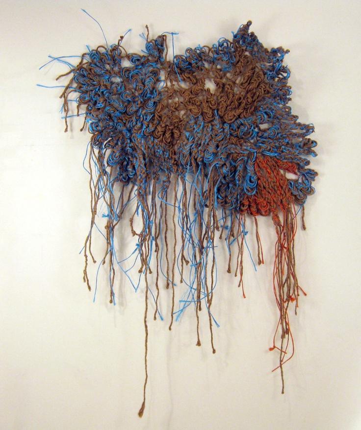 Found material art, woven fiber wall sculpture, OOAK Fine Art. $200.00, via Etsy.