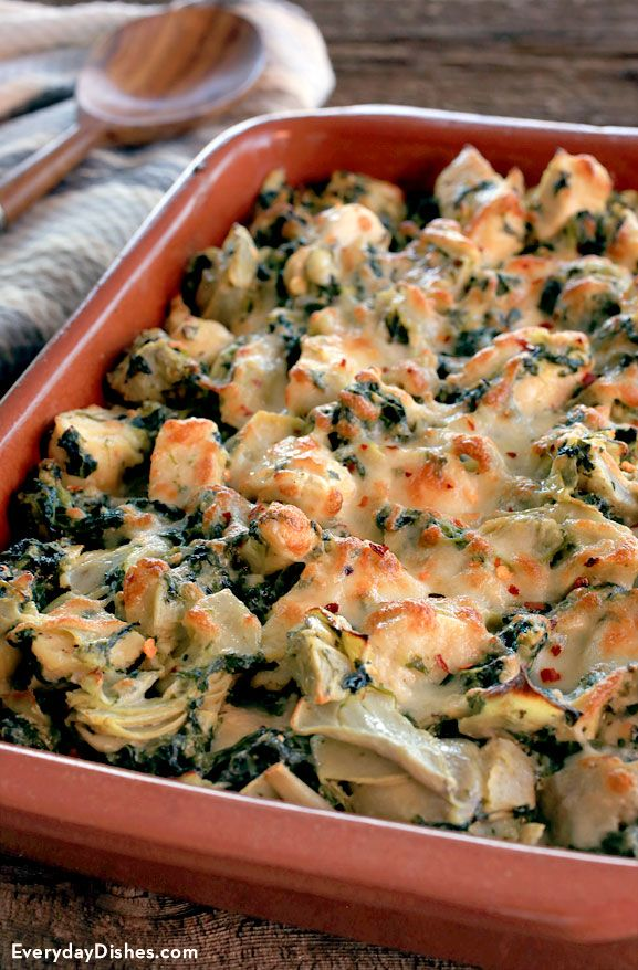 Time to show your neighbors who's boss at the potluck? So we're a little competitive—don't judge. Whip up our baked chicken with spinach and artichoke recipe. The chicken is juicy and tender, just the way you like, and the veggies are out of this world! And the cheese—people, the cheese!