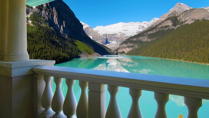 View from The Fairmont Chateau Lake Louise, Albert, Canada someone please take me here