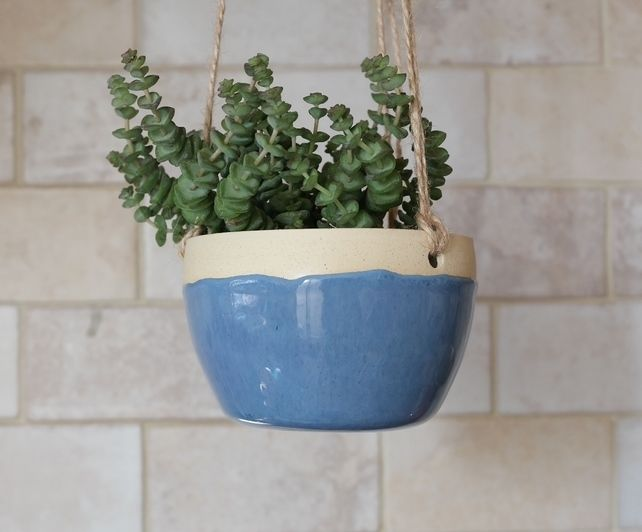 Blue Rustic Hanging Plant Pot - Ready to Ship £20.00