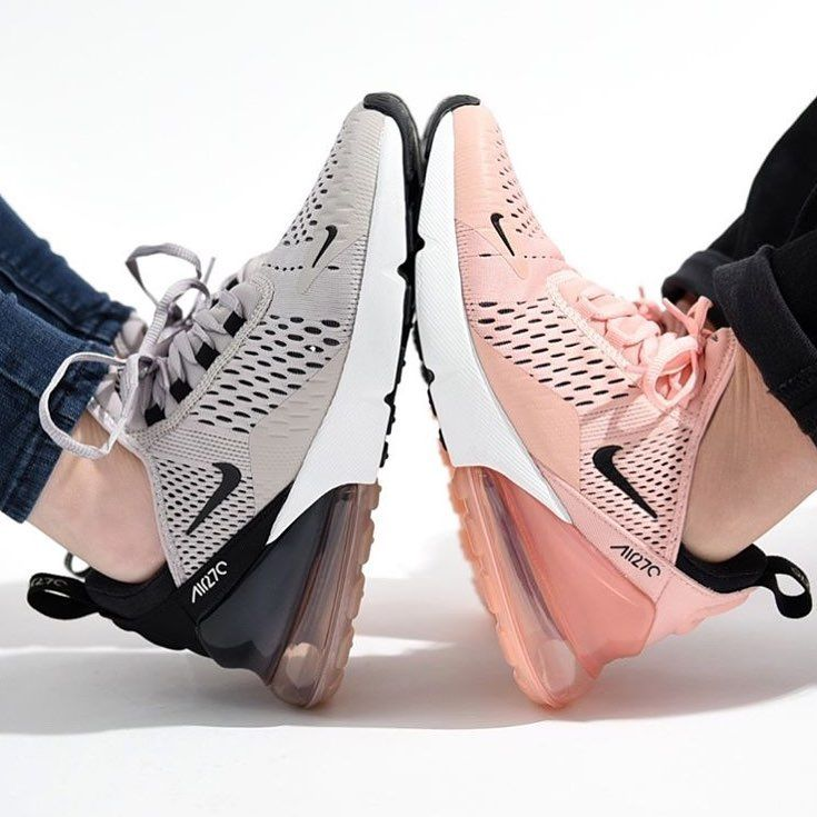 new arrivals a80d6 512e9 Nike Air Max 270 shoes in pink and grey.