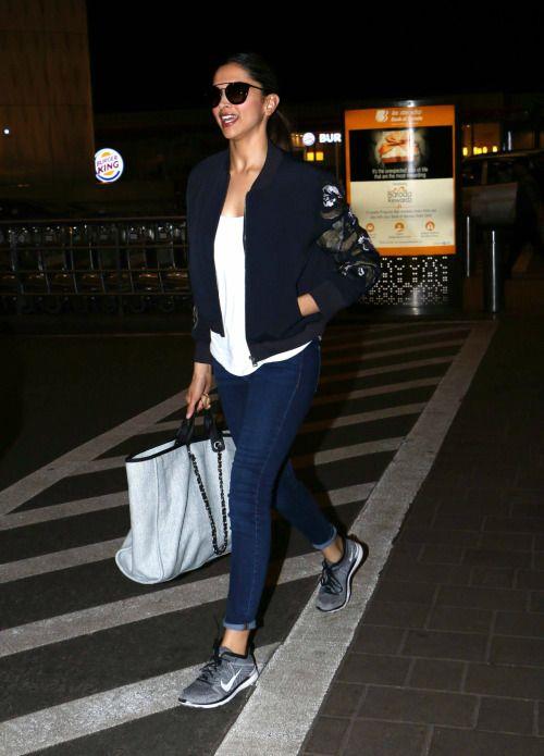 Deepika Padukone at Mumbai Airport : Deepika... | Jeans ...
