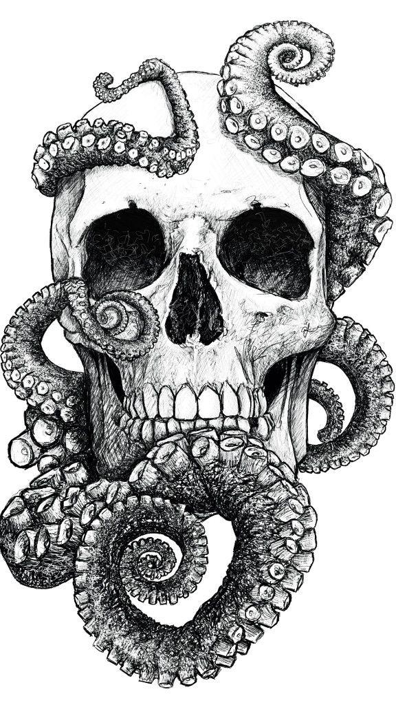 San Francisco by Mr Yarks #skull #octopus #drawing #art #illustration #sf #sanfrancisco