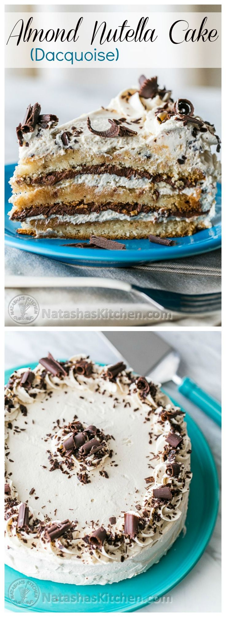 Almond Nutella Cake Recipe (Dacquoise) – Layers of scrumptious goodness! And it's gluten free! @natashaskitchen