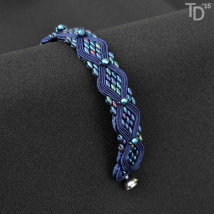 Metallic Blue Snakeskin bracelet - TheTerezkaD
