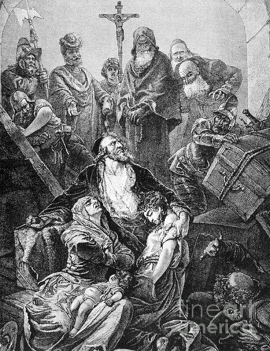Expulsion Of Jews, 1492  31 марта 1492 г. был издан Альгамбрский эдикт об изгнании евреев из Испании. Король Фердинанд II и его супруга Изабелла I Кастильская предписывали всем евреям Испании в трехмесячный срок покинуть пределы страны либо принять католичество.  Альгамбрский эдикт стал началом  катастрофы. Сотни тысяч евреев предпочли сохранить веру вступив на путь тяжелых скитаний, а (марраны) часто подвергались  преследованием  инквизиции, подозревавшей их в тайной приверженности…