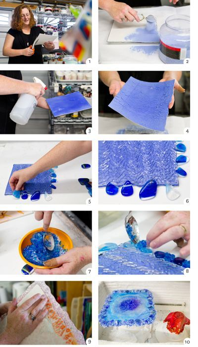 Fusing glass with Cheryl Sattler: Sattler cuts heat-resistant fiber paper (1) to the size of the base piece of glass and then sifts finely ground, dry, colored glass onto the fiber paper using a tea strainer (2). Carefully wetting the ground glass (3) allows the fiber paper to hold more glass and causes the powder to stick together. Bending the fiber paper (4) gently causes cracks in the surface of the wet glass powder. The powder/paper is placed on a kiln shelf and topped with a piece of…