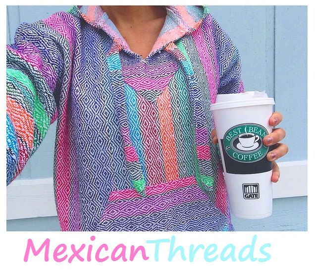 Mexican Threads Baja Drug Rug Hoodie Pullover Sweatshirt | Baja Jacket Poncho Rainbow Colorful | Boho Gypsy by OrvinApparel on Etsy https://www.etsy.com/listing/210704093/mexican-threads-baja-drug-rug-hoodie