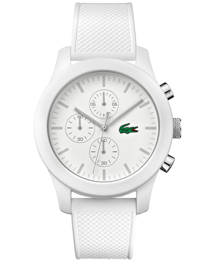 The croc really pops on this crisp-looking all-white timepiece by Lacoste. From the 12.12 collection. | White silicone strap | Round TR-90 case, 44mm | White chronograph dial with stick indices, three