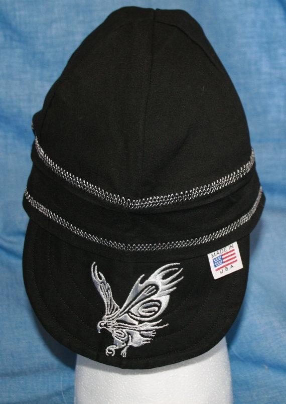 embroidered welding caps! gotta love it!     tribal eagle 6 panel reversible weld cap by WhisperingWheelArt, $15.00