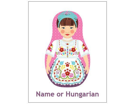 Hungarian Girl Matryoshka Art Print Kids Wall Art by AmyPerrotti