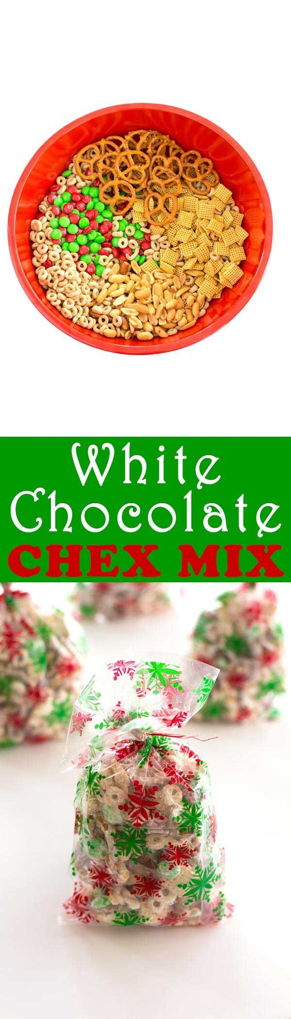 White Chocolate Chex Mix. Everyone loves this Christmas Chex mix with white chocolate, Cheerios, pretzels and peanuts!