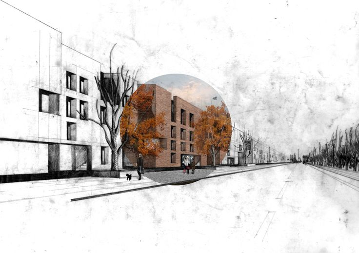 rendering style // Urban Housing Design, Glasgow 2013 // drawn by Chris Dove