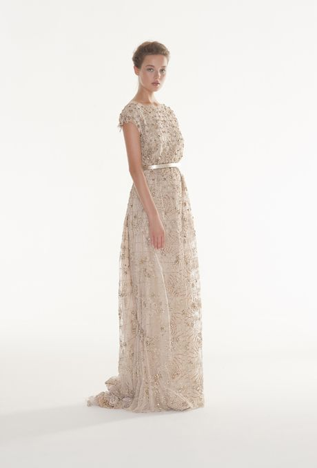 """A gold sparkly dress!  Brides: Langner Couture - Fall 2013. """"Envy"""" embroidered gold tulle sheath wedding dress with a boatneck, cap sleeves, and illusion tulle open back, Langner Couture"""