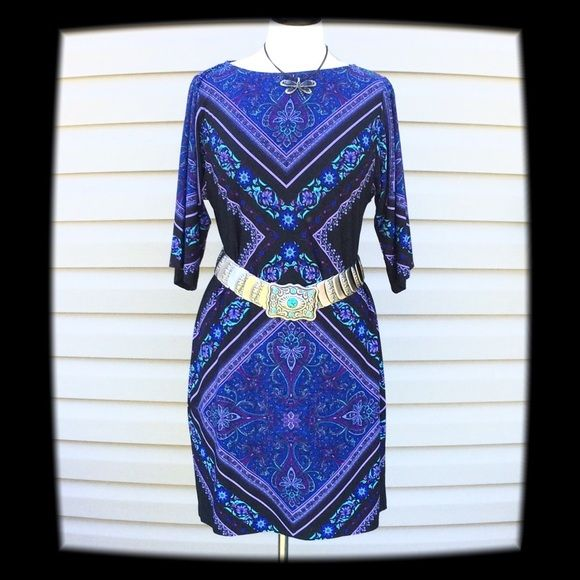 """NWT Versona Multi Color Dress Size 4  NWT Versona Multi Color Dress, Size 4. Belt is Not Included. Material: 95% Polyester, 5% Spandex. Machine or Hand Wash Cold. Mannequin is a 36-24-36. Measurements laying flat: Bust 18"""", Sleeves 14"""", Length 36"""".  NO TRADES OR LOWBALL OFFERS Versona Dresses Midi"""