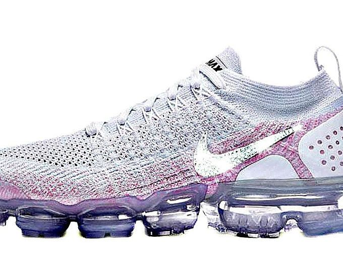 Women s Swarovksi Nike Air VaporMax Flyknit 2 + Crystals - White Pink ~ Nike  Swarovski ~ Blinged Out 03aae2a6d6