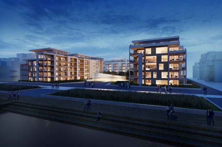 Konkurranseforslag - boligprosjekt Tangen Kristiansand.  Arkitekt: Ark-Net AS