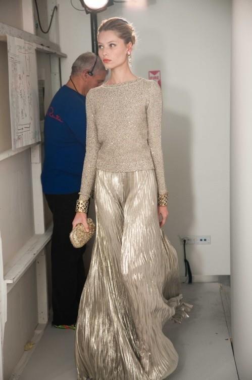 Silver maxi skirt metallic