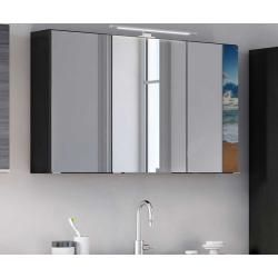 Badezimmer Spiegelschrank In Dunkelgrau Led Beleuchtung Star Mobel In 2020 Badezimmer Spiegelschrank Spiegelschrank Led Beleuchtung