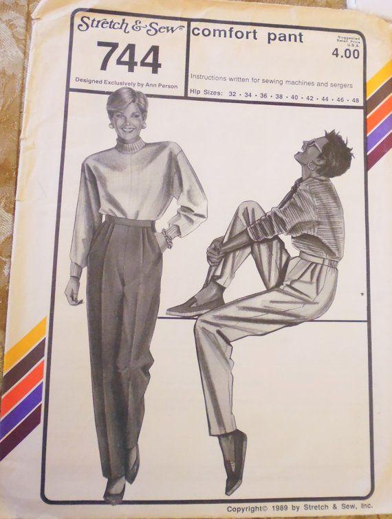 Stretch and Sew 744 elastic waist pants pattern by VioletsandWine