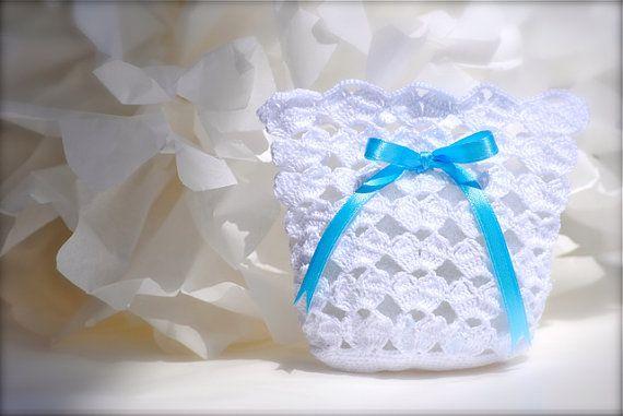 Wedding favor  Baby shower  Crochet  White bag by LeCrochetdOr, $10.00