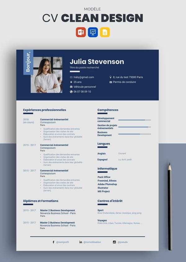 Decouvrez Le Cv Clean Design Parmi Nos 100 Modeles Professionnels Facile Et Rapide A Remplir Creez Votre Cv En 10 Minute Cv Design Resume Template Marketing
