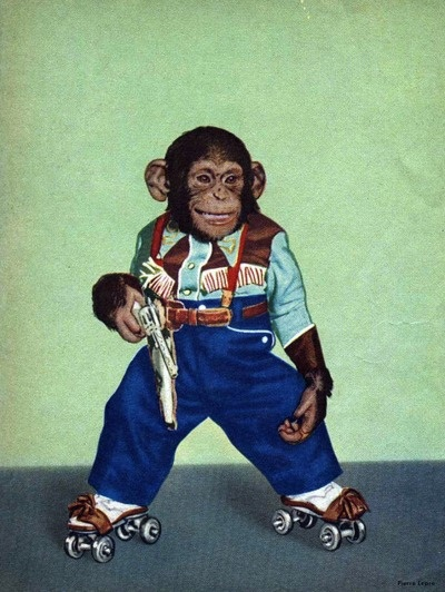 the only thing better than a chimp in a cowboy suit is a chimp in a cowboy suit on roller skates