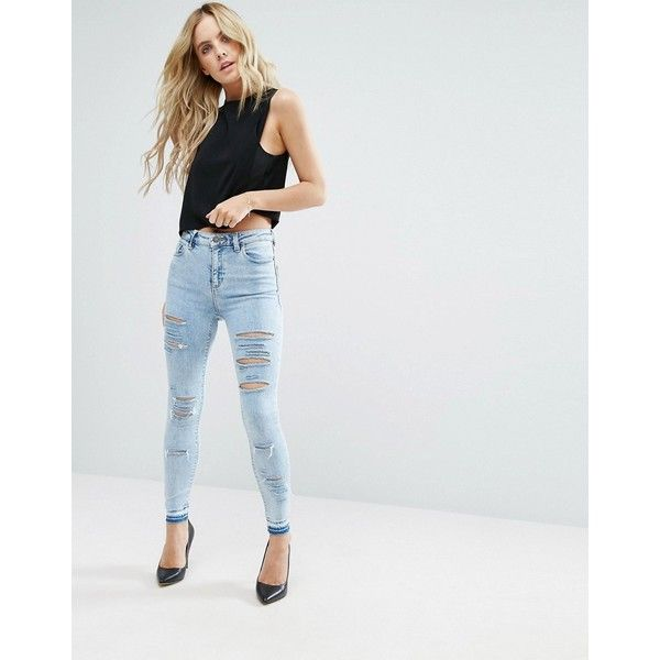 ASOS PETITE Ridley Ankle Grazer Jeans in Sebastian Wash with Shredded... ($39) ❤ liked on Polyvore featuring jeans, destructed skinny jeans, zipper skinny jeans, stretch skinny jeans, super stretchy skinny jeans and ripped jeans