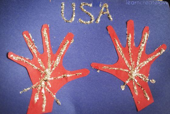handprint fireworks craft