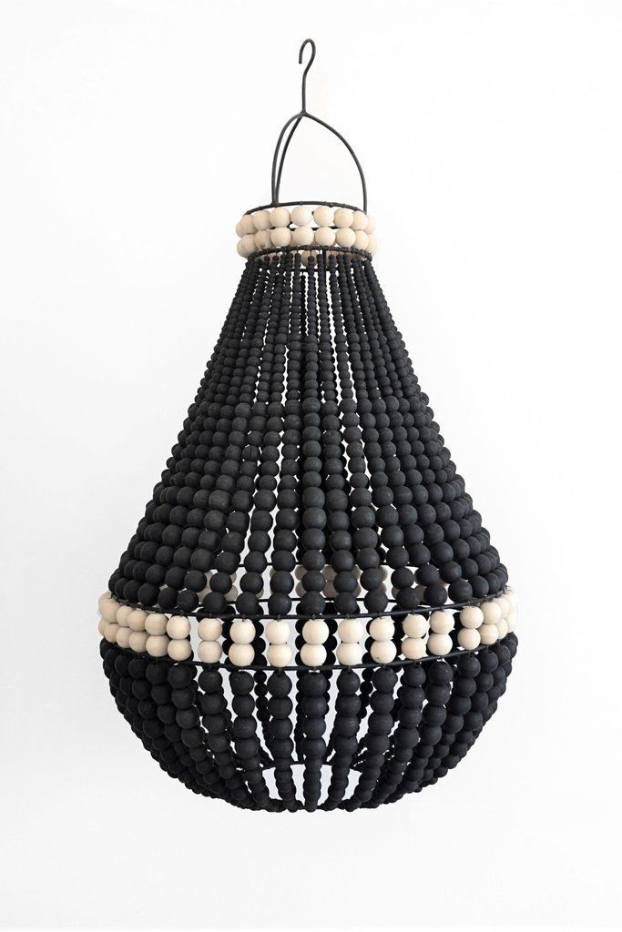120 Black Beaded Chandelier Wood Beaded Light Shade Black Color