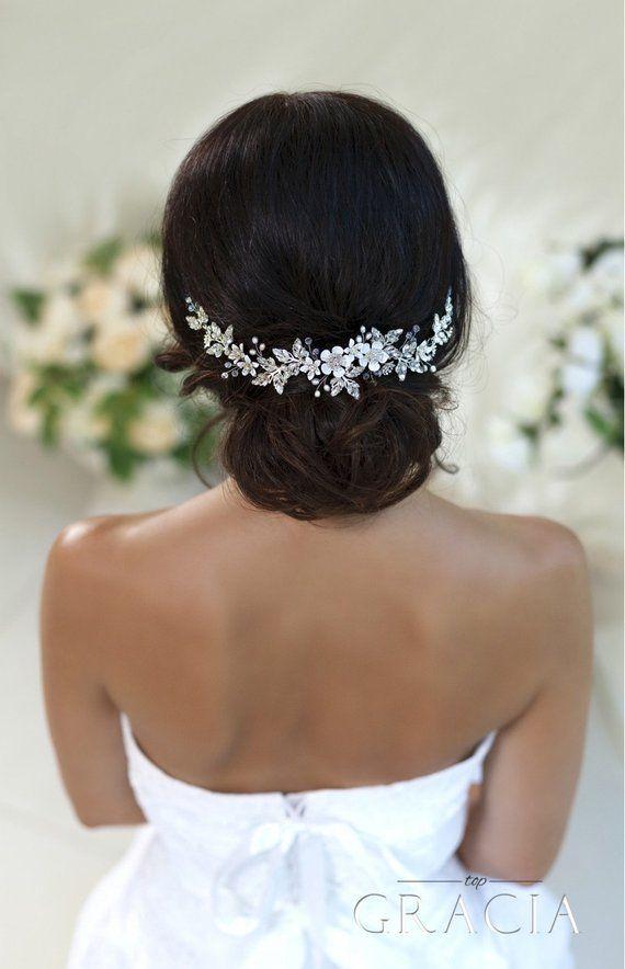Wedding hair accessories Bridal hair piece Wedding headband Crystal hairpiece Rhinestone headpiece Flower Bridal Headpiece With Crystals