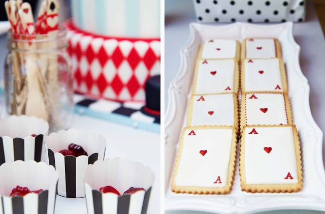 """Royal Icing Cookies """"Ace of Hearts Cards"""" for the Alice in Wonderland themed Birthday Party"""