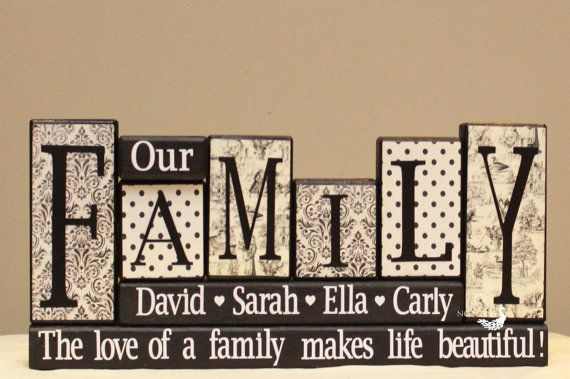 Our Family Personalized Home Decor Wood Blocks by TimelessNotion ...