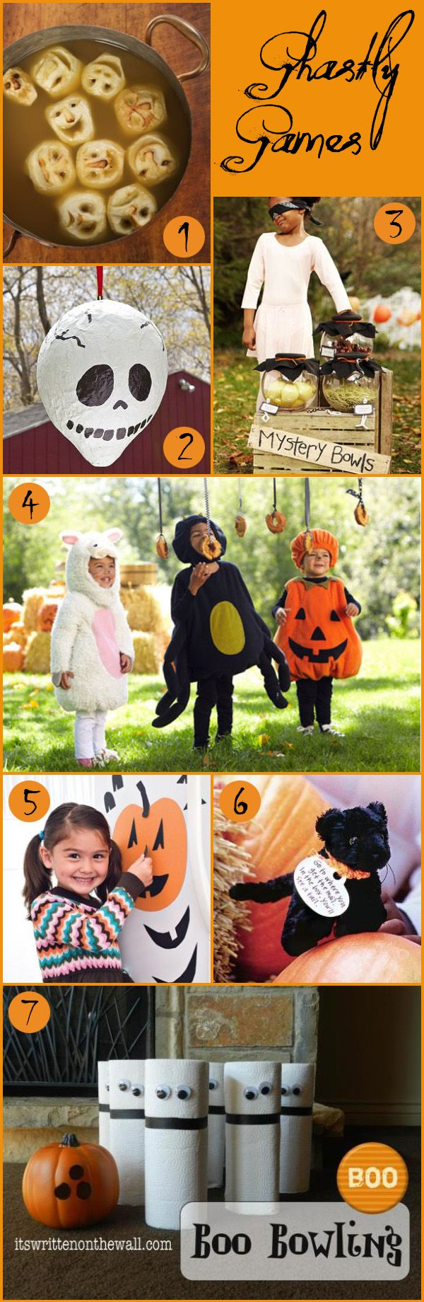 games ideas for Halloween, kids games, halloween games, apple bobbing, mystery box, treasure hunt, string doughnuts, spooky bowling, pinata