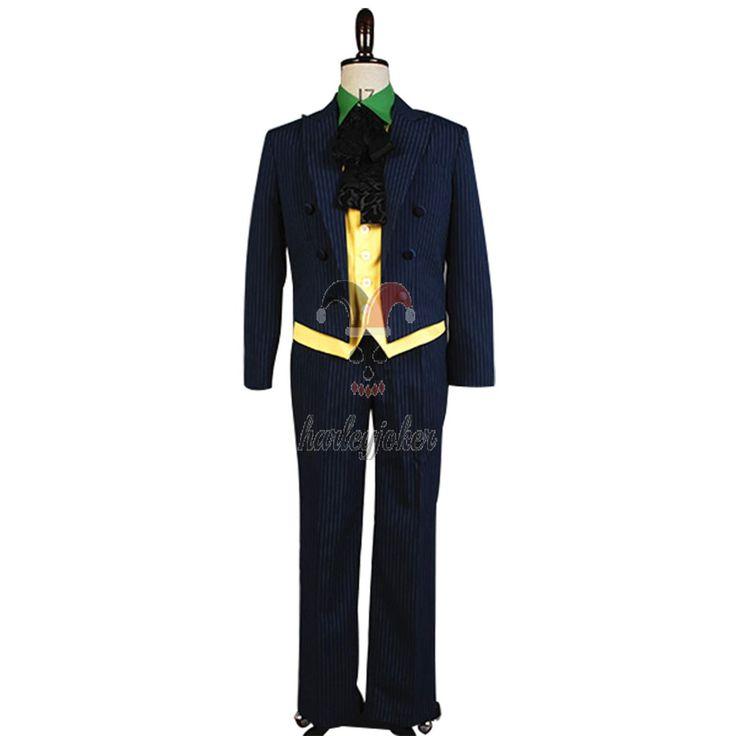 Batman Arkham Asylum Joker Cosplay Costume New Silver Stripes--- Batman Cosplay Costume